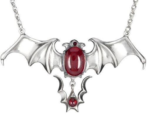 Bat necklace, pewter