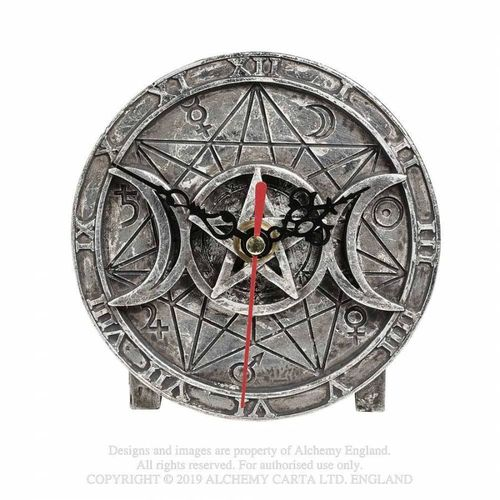 Wiccan Desk Clock triple moon with pentagram
