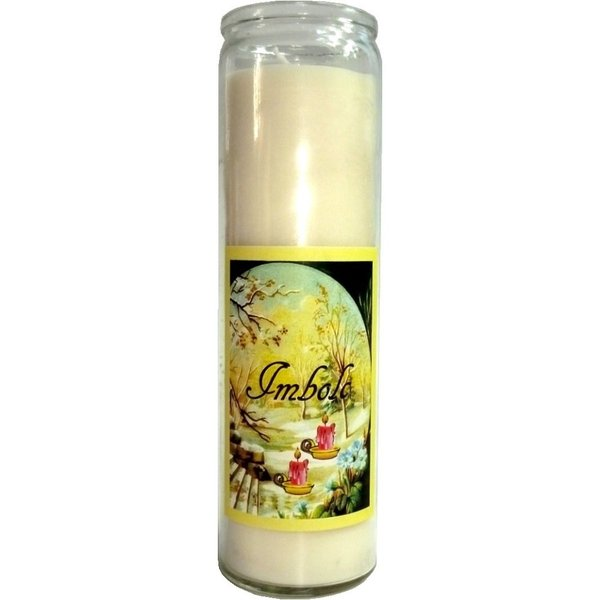 Imbolc Annual Circle glass candle
