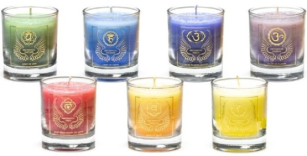 Chakra archangel candles in glass